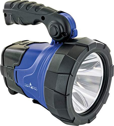 SCHWAIGER -661590- Foco de trabajo LED con panel solar Foco de mano de 5W Lámpara recargable de batería desmontable | foco de linterna con asa de transporte Soporte plegable de 360 lúmenes