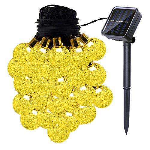 Guirnalda de luces solares, 33 pies, 60 bombillas LED con 8 modos para patio, jardín, camino, fiesta y decoración del hogar