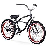 Firmstrong Urban Boy Bicicleta de Playa de una Sola Velocidad, 20 Pulgadas, Negro con Borde Rojo