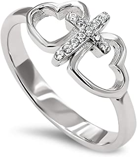 925 Butterfly Cross Silver Ring,