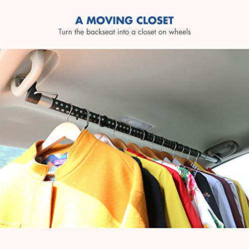 """MYSBIKER Car Clothes Rack,Car Clothes Hanger Bar,Retractable Vehicle Clothing Rack Hanger Rod for Travel or Garment Cloths, Expandable 36"""" to 60"""",Max holds up to 50 lbs"""