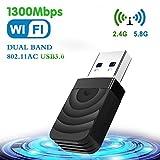TouchSKY WiFi USB 3.0 Antena Adaptador 1300Mbps Mini WiFi USB Dongle Dual Band 2.4G/5.8GHz Receptor para PC Desktop Laptop Tablet, Windows XP/Vista/7/8/10/Mac OS 10.9-10.14