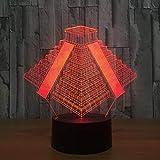 3D Lámpara de Lámpara De Ilusión Egyptian Pyramids luz nocturna remoto para sala de estar, bar, regalo juguetes para niños y niñas Con interfaz USB, cambio de color colorido