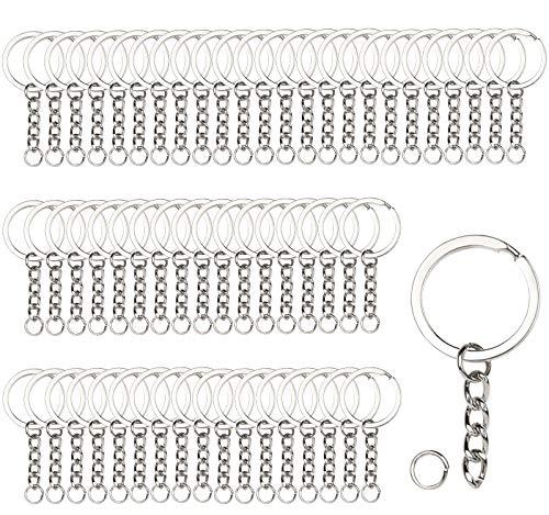 Aoligei 80pc Schlüsselringe mit Kette, Keyring Chain, Schlüsselring mit Kette, Schlüsselanhänger Zubehör, Spaltringe Keyring Chain für Schlüssel Anhänger DIY Bastelprojekte