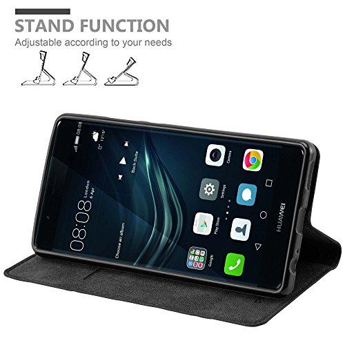 Cadorabo Hülle für Huawei P9 Plus - Hülle in Nacht SCHWARZ – Handyhülle mit Magnetverschluss, Standfunktion und Kartenfach - Case Cover Schutzhülle Etui Tasche Book Klapp Style - 3