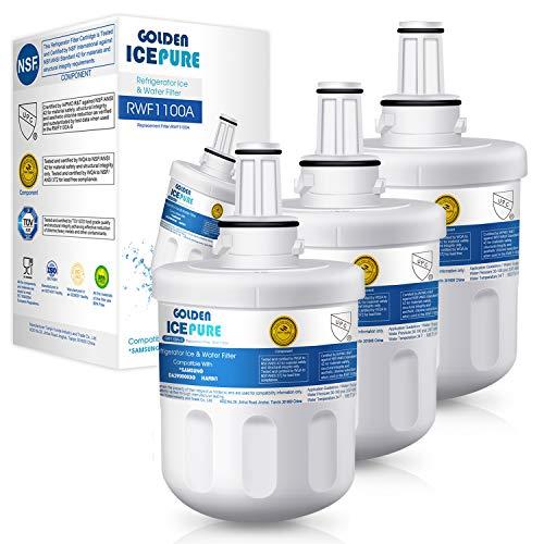 GOLDEN ICEPURE 3X Sostituzione Cartuccia Filtro Acqua Frigorifero per Samsung Aqua Pure Plus DA29-00003F DA29-00003G DA29-00003B DA97-06317A HAFCU1 / XAA HAFIN2 / Exp APP100 / 1 WSS-1 WF289 (fattura)