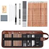 Coolzon Lapices Dibujo Sketching Pencil Set, Carboncillos para Dibujo Lapices Set con Kit Dibujo para Principiantes y Artistas