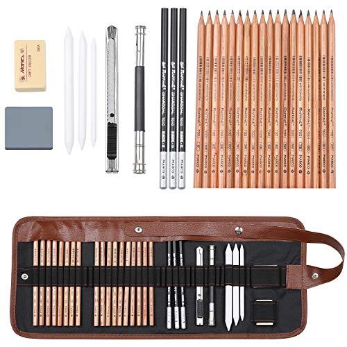 Coolzon® Crayons de Dessin, Trousse Kit Dessin avec Sac en Toile Crayons de Charbon de Bois pour Peinture, Dessin Outils pour Professionnels et Débutants
