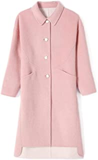 Winter Clothing for Women Wool Coat mid-Length Windbreaker Jacket Autumn and Winter Cashmere Button Jacket Pocket Ladies Coat (Color : Pink, Size : S)