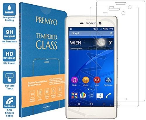 PREMYO 2 Stück Panzerglas Schutzglas Bildschirmschutzfolie Folie kompatibel für Sony Xperia M4 Aqua Blasenfrei HD-Klar 9H Gegen Kratzer Fingerabdrücke