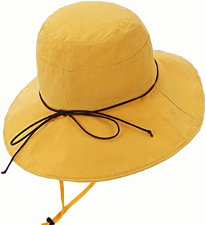 Hat Women's Solid Color Cotton Fisherman Hat Outdoor Sunscreen Folding Sunshade (Color : Yellow, Size : 56-58CM)