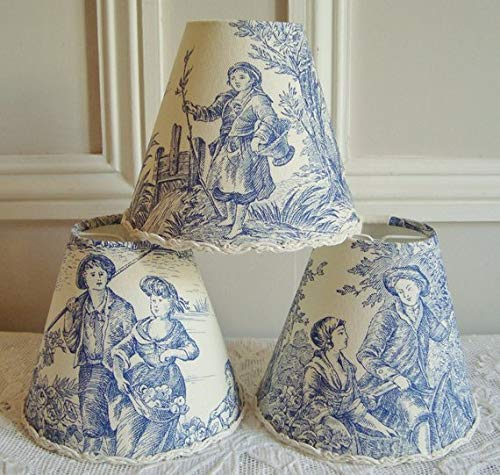 French Blue Toile de Jouy chandelier lampshade for sconce or wall light, Country style shabby chic clip on shade 4.3 x 5.1 ins