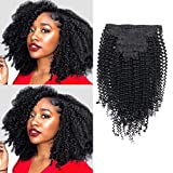 Lovrio Kinkys Curly Virgin Brazilian Clip in Human Hair Extensions Double Weft...