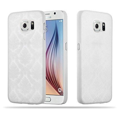 Cadorabo Samsung Galaxy S6 (Nicht für Edge) Hardcase Hülle in WEIß Blumen Paisley Henna Design Schutzhülle – Handyhülle Bumper Back Hülle Cover