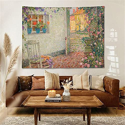 YYRAIN Fondo De Pintura Al Óleo Vintage Tela Sala De Estar Dormitorio Pasillo Tapiz Tapiz De Fondo De Cabecera 51x59 Inch {130x150cm} Height and with