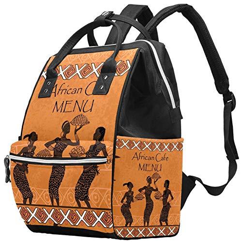 Bennigiry Africa Woman Menu pour sac à langer africain Sac à dos de grande capacité Sac à dos de voyage Sac à langer Organisateur multifonction Sac de bébé pour maman