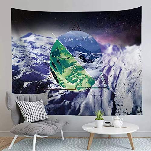 RTEAQ Tapiz de montaña de Nieve, Colgante de Pared para el hogar, decoración de Fondo para Dormitorio, Alfombra de Pared psicodélica, Tapiz Decorativo de Mandala, Hippie Hippy-39x59inch(100x150cm)