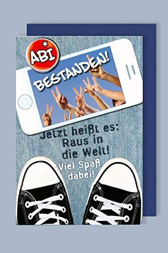 Abitur Grußkarte Karte Abi bestanden! Raus in die Welt 16x11cm Plus 3 Sticker