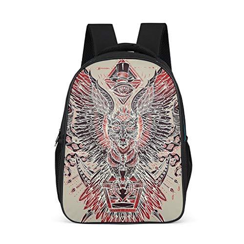 Zhcon Rotes Monster Printed Schulrucksack Schulranzen Mini Schultasche Backpack Teenager Jugendliche Turnbeutel für Mehr Stauraum Wandern mit Seitentaschen Flügel