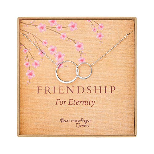 Friendship for Eternity Necklace - Sterling Silver Interlocking Infinity 2 Circle Necklace Gift Jewelry for Best Friend