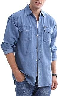 JEKAOYI Mens Denim Shirts Long Sleeve Casual Classic Fit Cotton Work Shirt Two Pockets