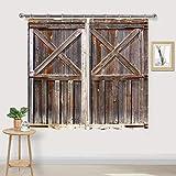 Rustic Kitchen Window Curtains, Wooden Barn Door Kitchen Window Curtain Drapes, Farmhouse Curtains for Kitchen, Western Country Kitchen Curtains, Rustic Wood Curtains for Kitchen Window, 55'W x 39'L