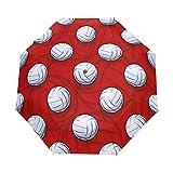 SUHETI Regenschirm Taschenschirm,Volleyballball Symbol Nahtloser Muster Vektor,Auf Zu Automatik,windsicher,stabil