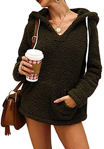 FUTURINO Sudadera de felpa para mujer con capucha y cuello de pico, talla grande verde XL