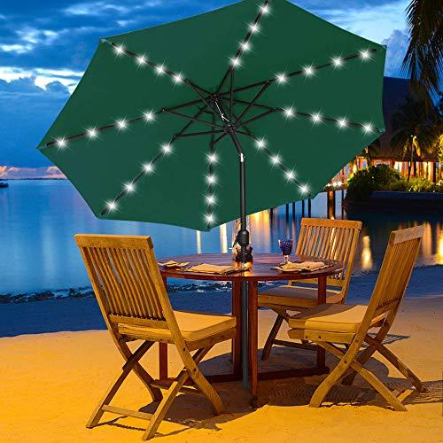 MASTERCANOPY 11 ft Solar Umbrella 32 LED Lighted Patio Umbrella Table Market Umbrella with 8 Sturdy Fe-Ribs (11FT, Forest Green)