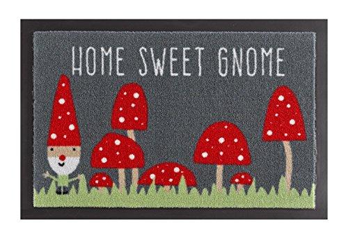 Hanse Home Home Sweet Gnome Grau Rot 40x60 cm Fußmatte Schmutzfangmatte, Polyamid