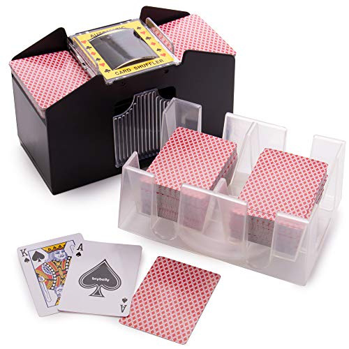 chh bridge playing cards Enhanced Card Game Essentials Bundle - 4 Deck Battery-Operated Automatic Electric Card Shuffler + 12 Decks Standard Index Poker Playing Cards + 6 Deck Rotating Acrylic Card Tray Accessory Set