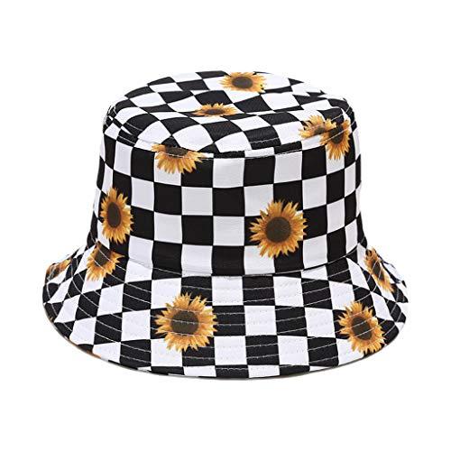 follwer0 Unisex a cuadros cuadros doble desgaste reversible cubo sombrero pluma flor impresa verano cubo sol sombrero pescador