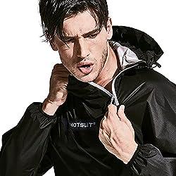 commercial HOTSUIT Sauna Suit Men's Slimming Jacket Pants Gym Workout Track Suit, Black, XL sauna suit brand