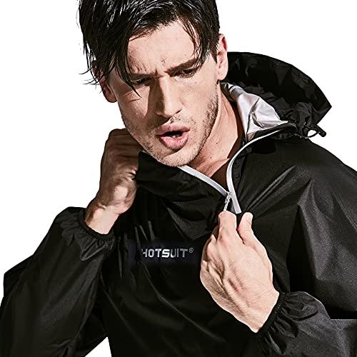 HOTSUIT Sauna Suit for Men Sweat Sauna Jacket Pant Gym Workout Sweat Suits, Black, 5XL