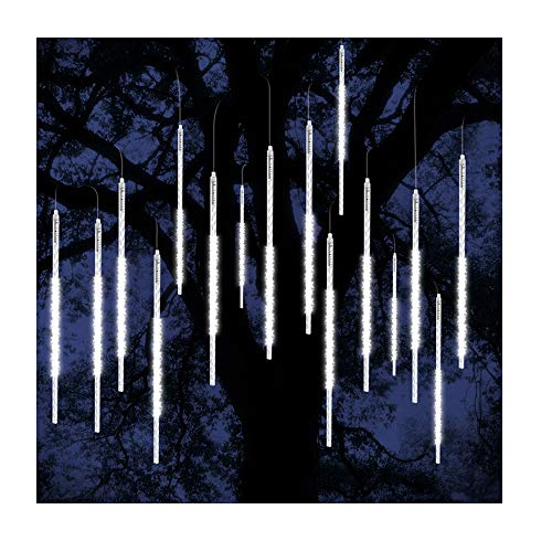 ohCome Météor Douche Goutte De Pluie Lumières 50cm 10 Spirale Tubes 540 LED Étanche Icicle Neige Chute De Guirlande Lumières pour Mariage De Noël De Noël Halloween Jardin Arbre Décor (Blanc)