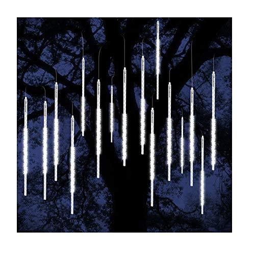 ohCome Luci Della Pioggia di Meteore 50cm 10 Tubi a spirale 540 LEDs Luci Stringa Impermeabile per Natale Halloween Albero del Giardino Home Decor (Bianca)