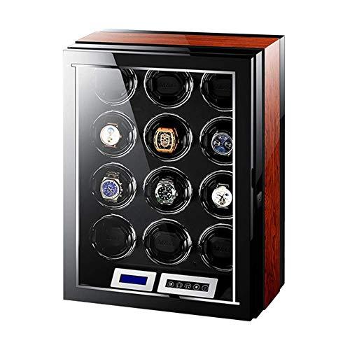 ZCYXQR Enrollador de Reloj automático con Motor silencioso Pantalla táctil LCD 15 Modos de rotación Control Remoto de luz LED Adecuado para Relojes de Pulsera para Hombres y Mujeres