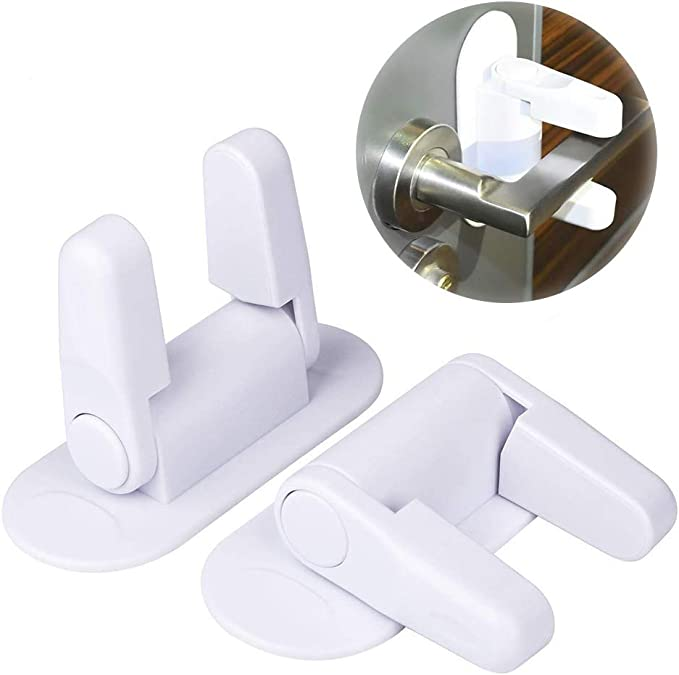 Baby Safety Lock 2pcs, Door Lever Lock Anti-Open Handle Security Lock for Child Proof Doors Handles with 3M Adhesive