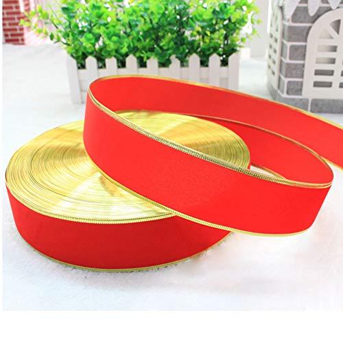 EisEyen Decoband, decoratieband, cadeaulint, decoratie, huwelijk, Kerstmis, 100 cm x 5 cm, rood en goud