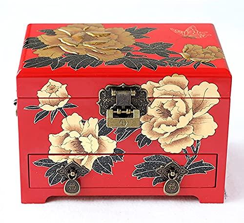 POUAOK Joyero para Mujer Organizador de exhibición de Grabado Pintado a Mano con Cerradura y Llave, para joyerías, Relojes, Collar, Anillo, Caja de Almacenamiento