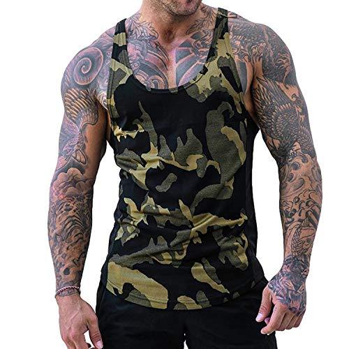 Herren Athletic lässig Tank top,T-Shirt Unterhemden, Ärmellos Weste, Muskelshirt,Fitness Shirt (Yellow, XXXL)