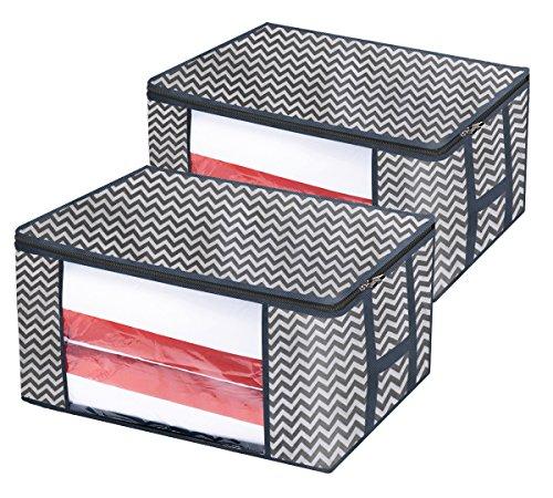 homyfort 2 Stück Aufbewahrungstasche für Bettdecken und Kissen - Kleidung Lagerplätze, Bettwäsche, Decken Organisator Lagerbehälter, Feuchteschutz, 60 x 45 x 30cm, 81L, Grauer Streifen, XBR60M
