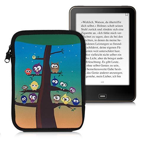 kwmobile Funda Universal para e-Book - Estuche de Neopreno con Cierre de Cremallera para e-Reader - Carcasa en Multicolor/Azul/marrón