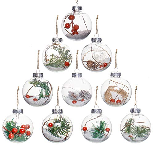 Rocinha 10 Pack Clear Plastic Ornaments, 3.14 Inches Fillable Christmas Ornaments, Clear Plastic Ornaments for Crafts Fillable with Pine Snow Berry
