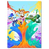 Splatoon Squid Sister Colorful Poster Print Wall Art Canvas Print Drawing Decor for Living Room Bedroom Unframed 12x18 inch
