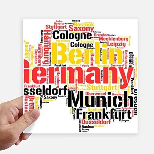 DIYthinker Duitsland Stad Naam Kaart Stijl Illustratie Vierkante Stickers 20 Cm Wandkoffer Laptop Motobike Decal 4 Stks