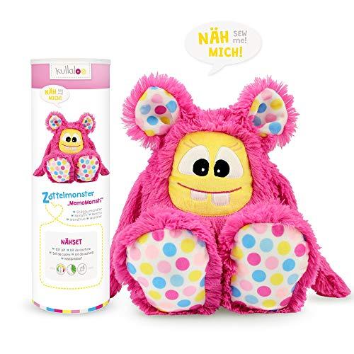 kullaloo Näh-Set Selber Machen: Zottel Monster MemoMonsti inkl. Schnittmuster in pink und in schicker Dose (DE/EN) Materialset, Stoffpaket, Minky, 10,5 x 10,5 x 31 cm