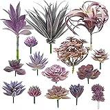 Woohome Suculentas Plantas Artificiales, 15 Pz Morado Suculentas Artificiales Plantas...