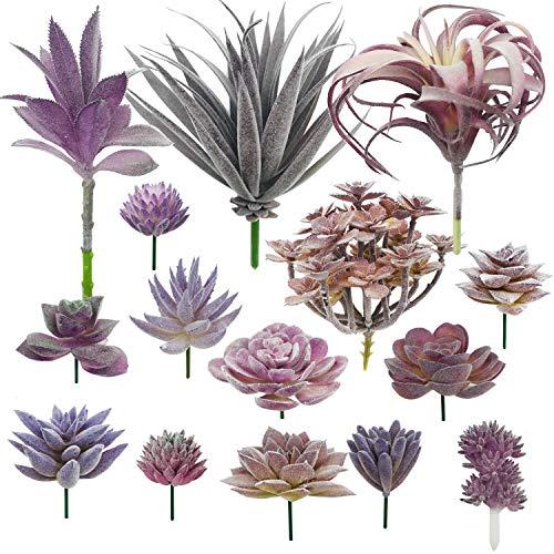Woohome Piante Grasse Finte Decorative, 15 Pz Viola Succulente Artificiali Piante Succulente Finte per La Decorazione del Paesaggio Decorazioni, Casa Giardino Decorazioni
