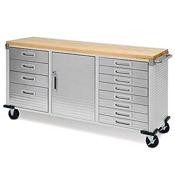 Seville Classics UltraHD 12-Drawer Lockable Rolling Cabinet Workbench 72  x 20  x 37.5  Granite Gray